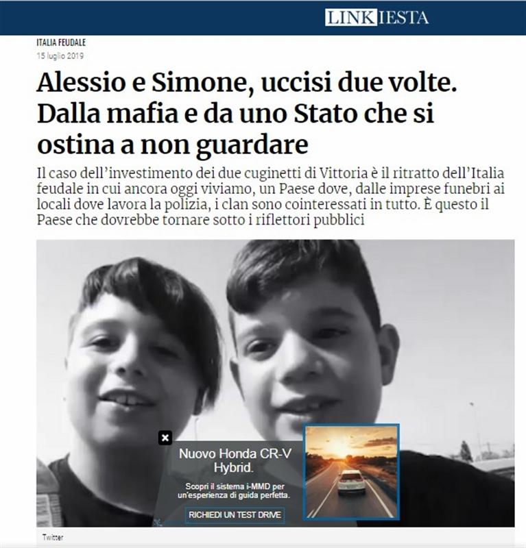 La tragedia di Alessio e Simone: quel brutto svarione  con la pubblicità del Suv sulla foto dei due cuginetti