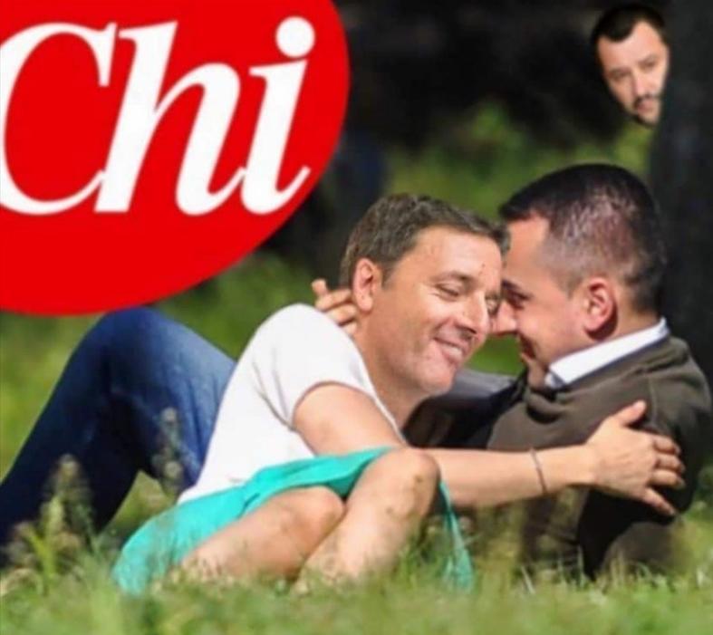 L'ironia del Web. Di Maio e Renzi amoreggiano sul prato, Salvini fa il guardone
