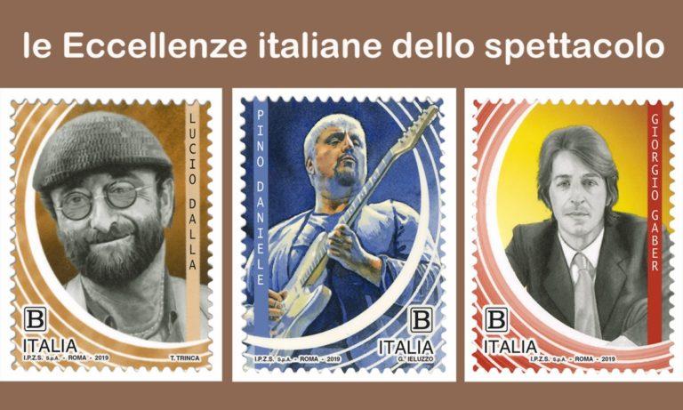 Poste Italiane, l'omaggio filatelico a Pino Daniele, Giorgio Gaber e Lucio Dalla