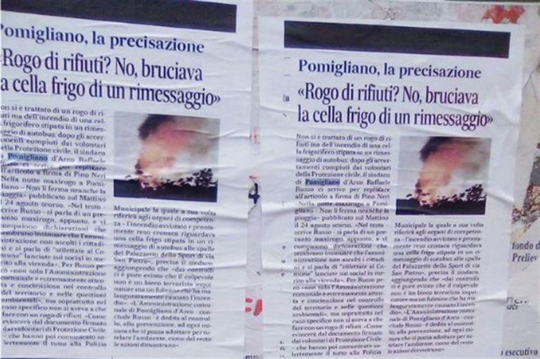 """Manifesti contro giornalista a Pomigliano d'Arco, il Sugc: """"Intervengano le forze dell'ordine"""""""