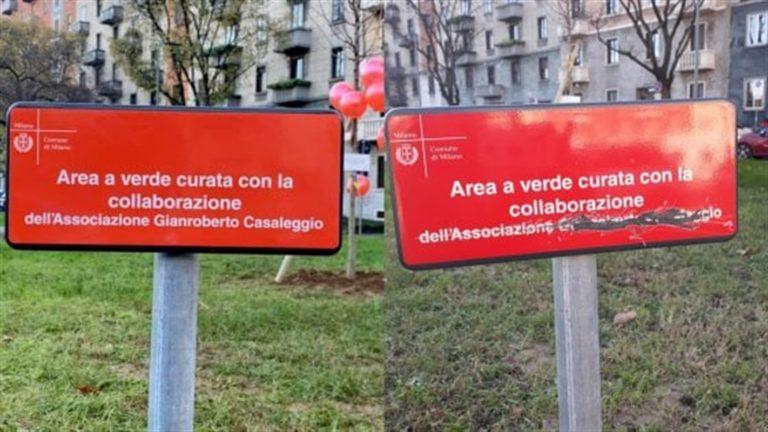 """Vandalizzata la targa alla memoria di Gianroberto Casaleggio: """"Una scritta si può cancellare, quello che ha fatto rimarrà per sempre"""""""