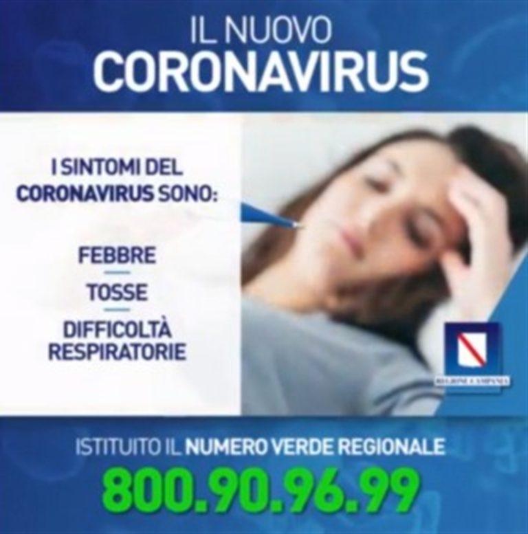 Emergenza Coronavirus, la Regione Campania istituisce un numero verde dedicato