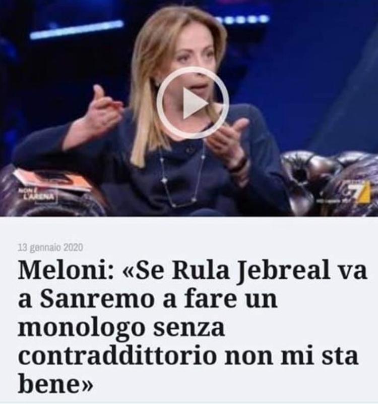 Rula Jebreal e il suo monologo che umilia Giorgia Meloni e Fratelli d'Italia