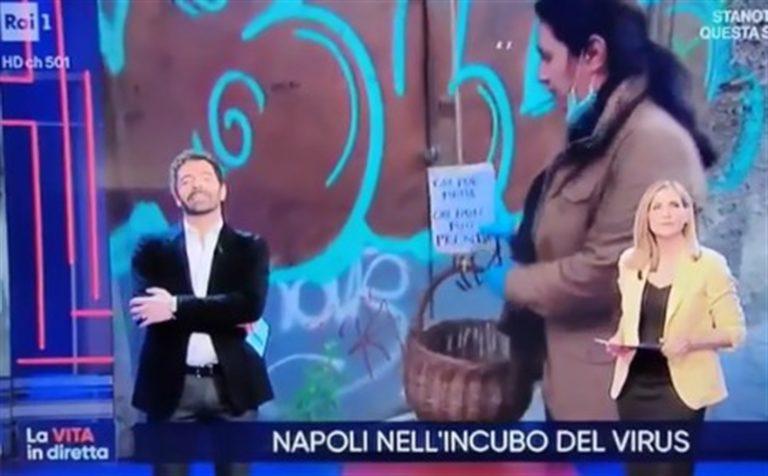 Su Raiuno, 'La vita in diretta' sguaina la telecamera per dare la caccia ai poveri di Napoli 'dei panari solidali'