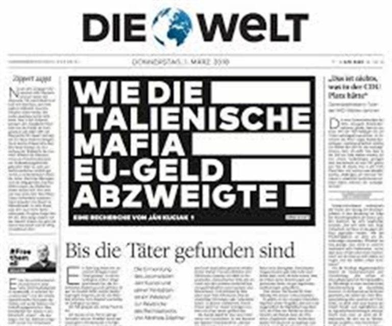 """Die Welt, titola: """"La mafia aspetta gli aiuti europei"""" e l'Italia si offende"""