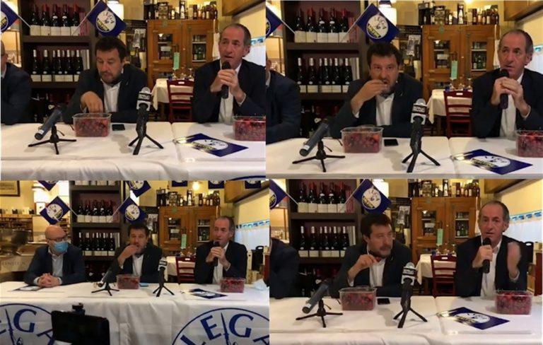 Il governatore Zaia parla dei neonati deceduti e nel frattempo Salvini ingurgita le ciliegie