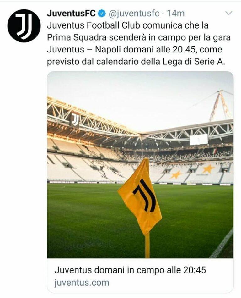 """La squadra del Napoli fermata dall'Asl non parte per Torino. La risposta della Juventus Football Club: """"Noi alle 20 e 45 saremo in campo"""""""