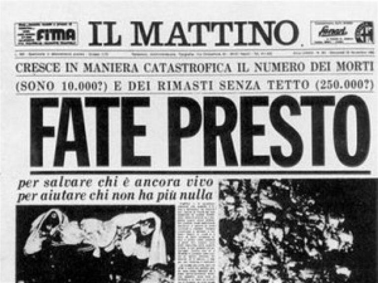 Sisma '80: L'anniversario. Napoli e l'Irpinia domani ricorda le vittime
