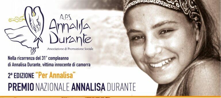 Al via la seconda  edizione del Premio Nazionale intitolato alla memoria di Annalisa Durante, vittima innocente di camorra
