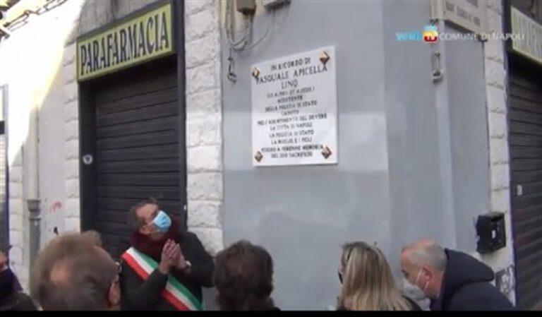 """Targa in memoria di Lino Apicella, l'agente morto nel corso di un inseguimento. Ministro Lamorgese: """"Obbligo civile ricordare"""""""